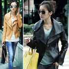 Lady PU Leather Outwear Slim Fit Biker Motorcycle Jacket Long Sleeve Coat Z344