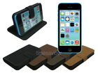 Horizontal Suede Leather Wallet Case Cover Stand for iPhone 5c