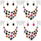 """Chunky Multi Color Gold Frame Statement Necklace Earring Costume Jewelry Set 19"""""""