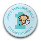 Personalised Cheeky Monkey Boy's Happy 1st Birthday Party Badge (58mm)