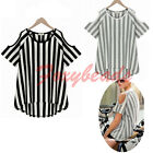 Women Casual  Cut Out Shoulders Vertical Striped Sleeve Blouse Tops Tee T-Shirt