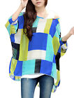 Allegra K See Through Style Color Block Batwing Sleeve Blouse Top for Ladies