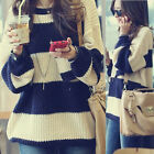 New korean Womens Wide Striped Loose Retro Sweater Jumper Crew Neck Casual 6139
