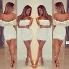 Off-Shoulder WHITE LACE MINI DRESS CELEB BOUTIQUE BLOGGER NEW ALL SIZES
