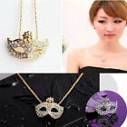 Female Cute Fox Face Necklace Rhinestone Masquerade Mask Choker Flower Crystal