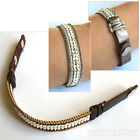 Nakamol Chicago Design Metal Seed Beads Snap Leather Cuff Easy speedy NEW SALE