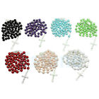 Women Long Rosary Chain Imitate Pearl Ball Beads Pendant Necklace Drop Cross Hot