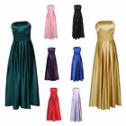 Formal Satin Strapless Bandeau Prom Cocktail Ballgown Evening Dress UK 8 - 20