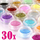 30 Glitter Colors Nail Art Glitter Powder Dust Acrylic UV Gel Tips Set DIY