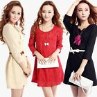 Fashion Women Sexy 3/4 Sleeve Lace Mini Slim Floral Dress Party Cocktail Evening