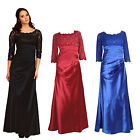 Long Satin Formal Ballgown Evening Dress Half Floral Lace Sleeves UK 8 to 22