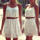 New Women Girl Celeb Cute Lace Crochet Strap Vest Summer Beach Dress With Belt