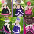 1X Hot Sale Cute Kids Baby Girls Ruffle Tops Pants Set Bloomers Outfit Dress