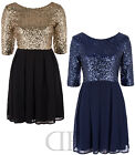 NEW WOMEN LADIES EVENING-WEAR SEQUIN DETAILED V BACK PARTY DRESS (SIZES 8-16)