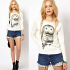 Women Owl Print Simple T-shirt Crew Neck Long Sleeve Casual Pullover Top Blouse