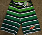 Mountain Dew Stripe Logo Board Swim Trunks Mens Shorts Nwt
