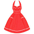 Hell Bunny Olive Womens Ladies Red White Polka Dot 50S Vtg  Prom Party Dress