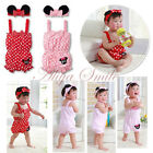 Cute Baby Girls Minnie Romper Jumpsuit Playsuit Polka Dots Outfits Headband New