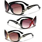 Stylish Oversized Ladies Women Round Butterfly Celebrity Sunglasses Black Gold