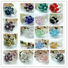Fashion Womens Colorful Faceted Crystal Glass Beads Flower Finger Ring Gift US 7