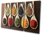 Food Kitchen Spices Indian TREBLE CANVAS WALL ART Picture Print VA