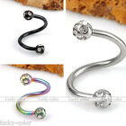 1pc Stainless Steel Crystal Ball Twister Ear/Nipple/Nose/Lip/Eyebrow Ring Gauge