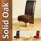 8 Leather Dining Chairs Scroll Back Oak Legs Furniture