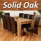 Full Solid Oak Dining Table Set w/Chunky Legs Room Furniture 6 8 Chairs 200cm