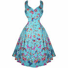 Whispering Ivy Blue Butterfly Floral 50s Vintage Tea Party Dress