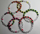 BLACK AND VARIOUS COLOUR BEAD BRACELET ANY NAME BAND OR NUMBERS GIFT PARTY BAG