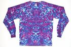 Adult Long Sleeve TIE DYE Purple Blotter art T Shirt art sm med lg xl hippie