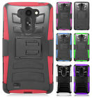 For LG G Vista Hybrid Combo Holster KICKSTAND Rubber Case Cover + Screen Guard