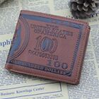 New Men US Dollar Bill Wallet Brown PU Leather Bifold Credit Card Photo Holder-S