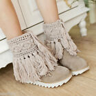 Women's Suede Fabric Flat Heel Shoes Tassel Plush Lining Snow Boots US Size O072
