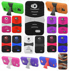 For LG Realm LS620 Hard Gel Rubber KICKSTAND Case Phone Cover + Screen Protector