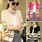 Vintage Womens Knitted Cardigan Striped Outwear Lady Casual Sweater Coat Tops