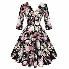Hell Bunny Black Dahlia Kitsch Vintage 50s Floral Flared Tea Party Dress