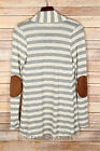 HEATHER GREY Beige STRIPED CARDIGAN Jacket Suede Elbow Patch Long Sleeve S M L