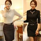 Retro Women's Lady Long Sleeve Floral Lace Casual Top Blouse Shirt Necklace Gift