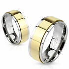 316L Stainless Steel Gold & Silver 2-Tone Spinning Wedding Band Ring Size 5-14