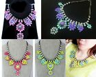 New Fashion Solid Neon Colour Resin Flower Pendant Bib Necklace Statement Collar