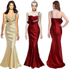 Donna Bella Beaded One Shoulder Long Formal Party Evening Wrap Dress Apricot Red