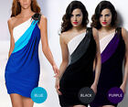 Embellished Drape Colour Block Stretchy Bodycon Cocktail Party Evening Dress