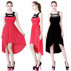 NEW Donna Bella Pleated Party Beach Evening Prom Long Asymmetric Hem  Dress