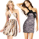 Girls Womens Sleeveless Printed Colour Contrast Cocktail Party Short Mini Dress