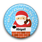 Personalised GOOD BOY or GOOD GIRL Santa Claus/Father Christmas Badge (58mm)