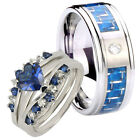 His Hers Silver Heart Blue Sapphire CZ & Men Tungsten Fiber Inlay Ring Set