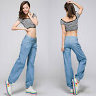 Women's Girl's New Casual Loose Harem Light Blue Denim Pants Straight Pants K100
