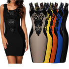 Womens Celeb Style Floral Lace Contrast Cocktail Party Evening Bodycon Dresses