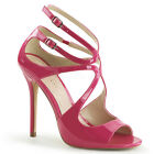 "PLEASER AMU15/HP Strappy Swirl Cutout Hot Pink 5"" Stiletto Sandals High Heels"